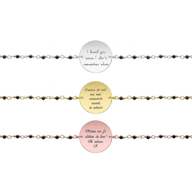 Bratara lant tip rozariu banut 17 mm personalizat gravura text Argint 925 rodiat