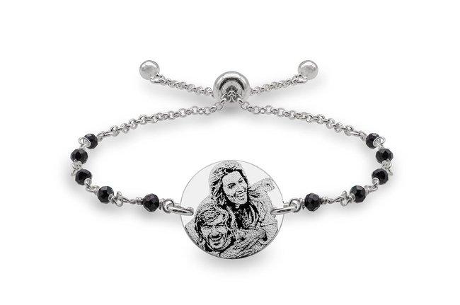 Bratara lant tip rozariu glisanta banut 17 mm personalizat gravura foto Argint 925 rodiat