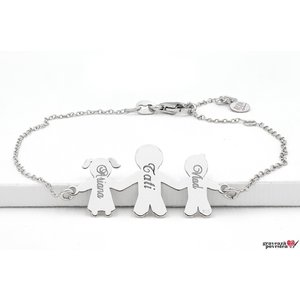 Bratara lant familie - trei membri 27 mm personalizati gravura text Argint 925 rodiat