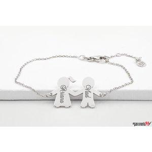 Bratara lant cuplu/ pereche fata si baiat 16 mm personalizata gravura text Argint 925 rodiat
