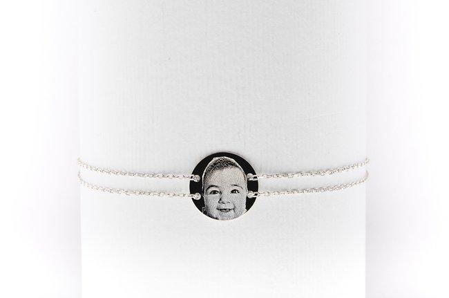Bratara lantisor trecut prin banut 12 mm personalizat gravura foto Argint 925 rodiat