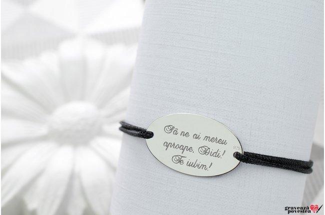 Bratara snur gros oval 25 mm personalizat gravura text Argint 925 rodiat