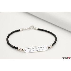 Bratara piele unisex placuta 33 mm personalizata gravura text Argint 925 rodiat (piele 3 mm)