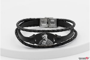 Bratara barbateasca mix piele oval 28 mm personalizat gravura foto Argint 925 rodiat (inchizatoare inox)