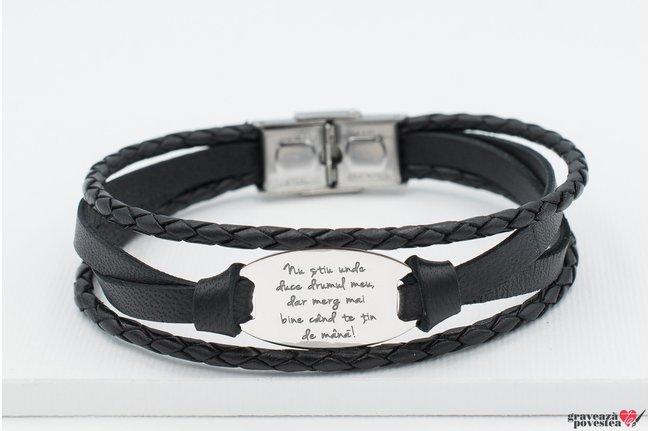 Bratara barbateasca mix piele oval 28 mm personalizat gravura text Argint 925 rodiat (inchizatoare inox)