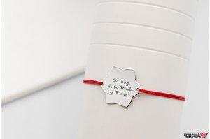 Bratara snur lotus 20 mm personalizata gravura text Argint 925 rodiat