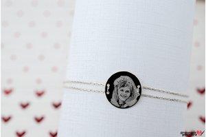 Bratara lantisor trecut prin banut 15 mm personalizat gravura foto Argint 925 rodiat