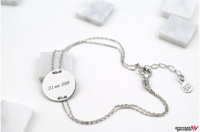 Bratara lantisor trecut prin banut 15 mm personalizat gravura text Argint 925 rodiat