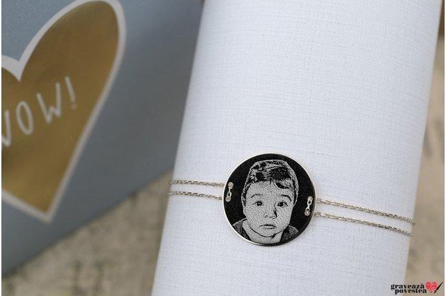Bratara lantisor trecut prin banut 20 mm personalizat gravura foto Argint 925 rodiat