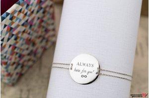 Bratara lantisor trecut prin banut 20 mm personalizat gravura text Argint 925 rodiat