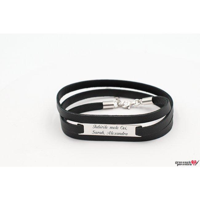 Bratara unisex piele multistrat placuta 35 mm personalizata gravura text Argint 925 rodiat (3 straturi)