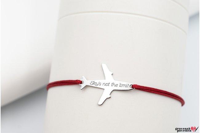 Bratara snur avion 21 mm personalizata gravura text Argint 925 rodiat