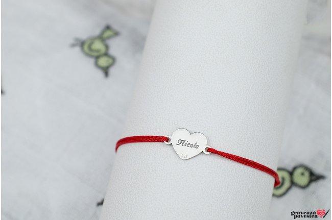 Bratara snur inima 10 mm personalizata gravura text Argint 925 rodiat