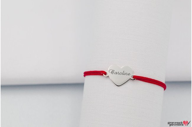 Bratara snur inima 15 mm personalizata gravura text Argint 925 rodiat