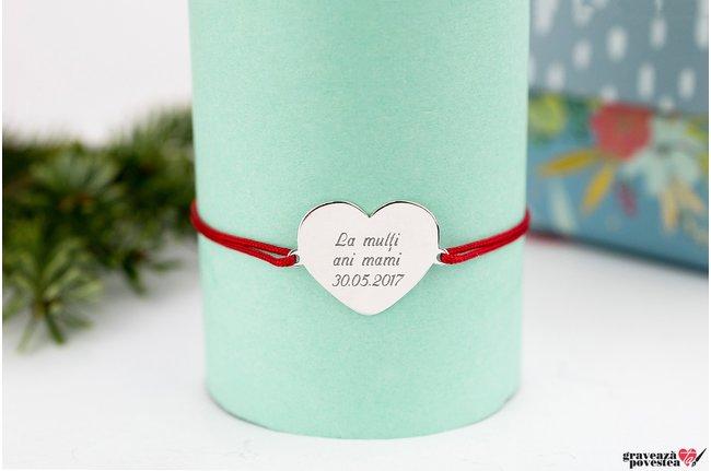 Bratara snur inima 20 mm personalizata gravura text Argint 925 rodiat