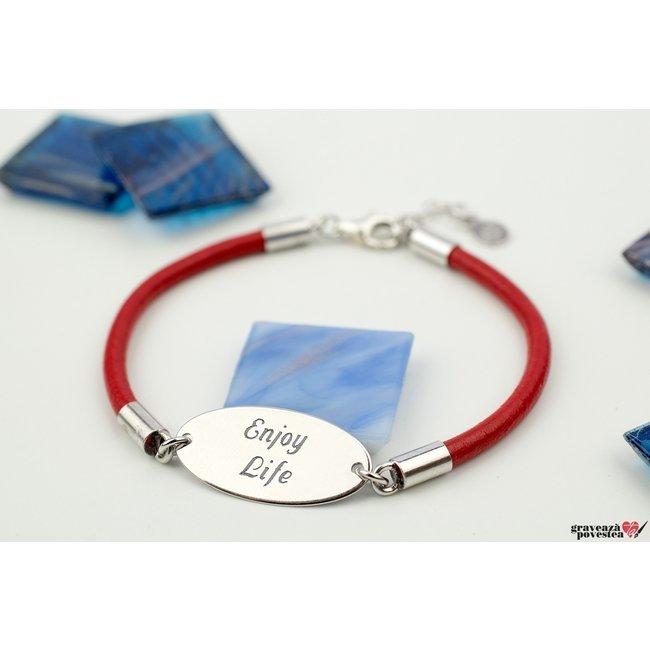 Bratara unisex piele oval 22 mm personalizat gravura text Argint 925 rodiat (piele 3 mm)