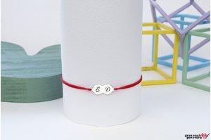 Bratara snur banuti 16 mm personalizati gravura initiale Argint 925 rodiat