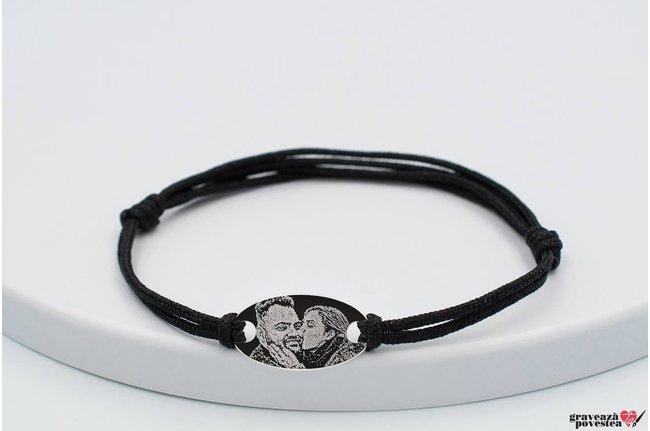 Bratara snur gros oval 22 mm personalizat gravura foto Argint 925 rodiat