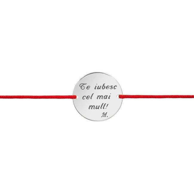 Bratara snur unisex banut 17 mm personalizat gravura text Argint 925 rodiat