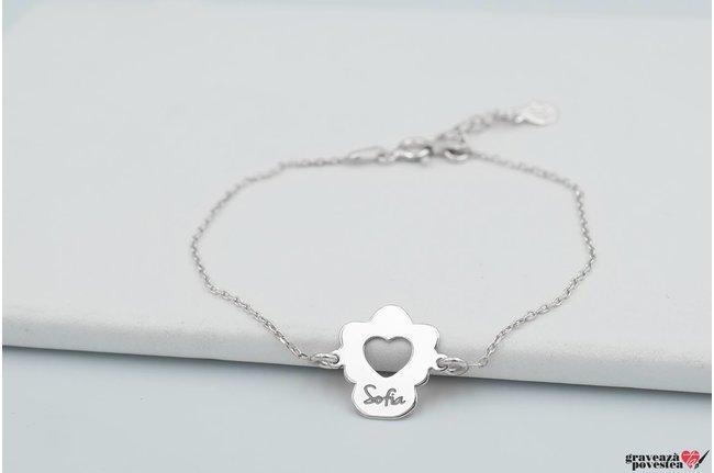 Bratara lant inima ingeras 14 mm personalizata gravura text Argint 925 rodiat