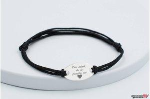 Bratara snur gros oval 22 mm personalizat gravura text Argint 925 rodiat