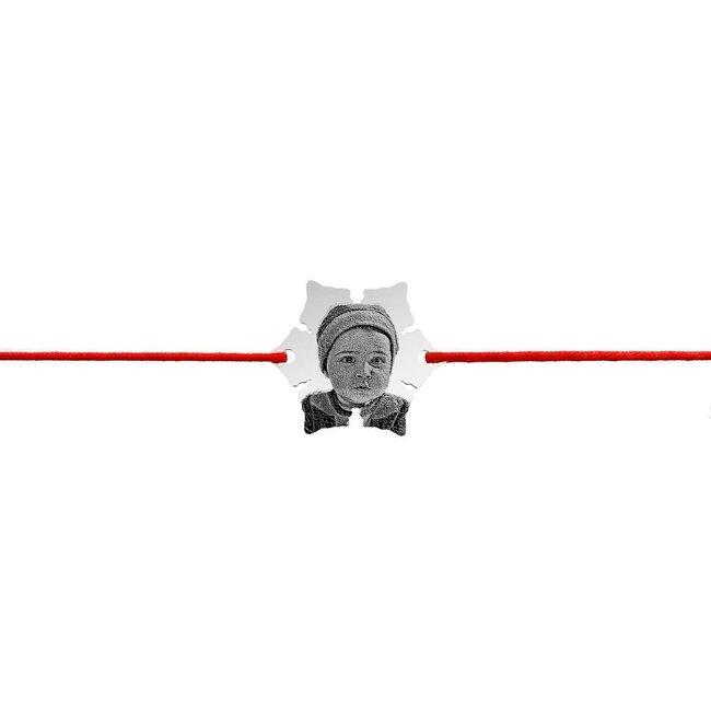 Bratara snur fulg de nea 20 mm personalizat cu gravura foto Argint 925 rodiat
