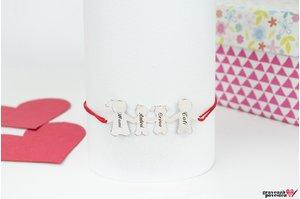Bratara snur familie - patru membri 38 mm personalizati gravura text Argint 925 rodiat