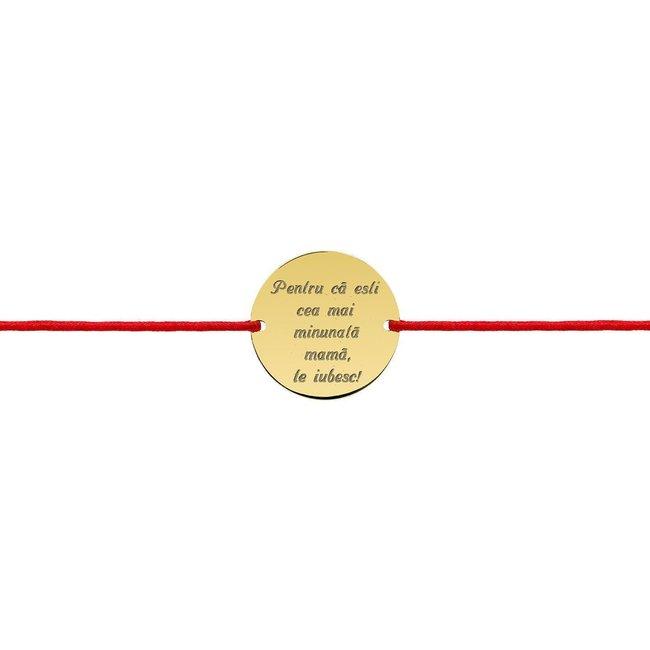 Bratara snur dama banut 18 mm personalizat gravura text Aur 14K