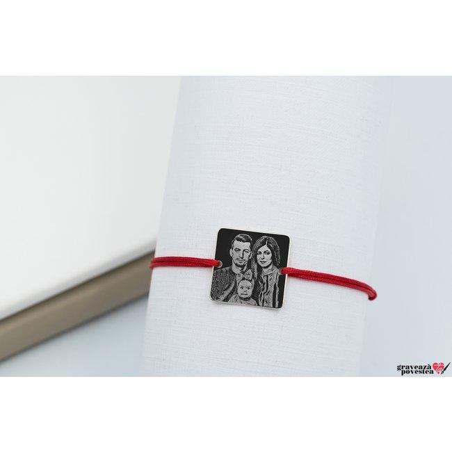 Bratara snur patrat 16.5 mm personalizat gravura foto Argint 925 rodiat