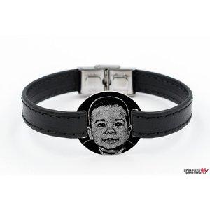 Bratara barbateasca piele lata cusuta banut 23 mm personalizat gravura foto Argint 925 rodiat (inchizatoare inox)