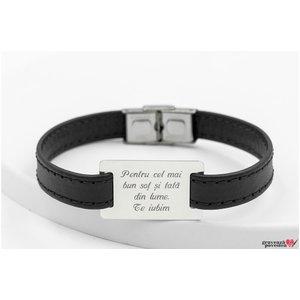 Bratara barbateasca piele lata cusuta placuta 28 mm personalizata gravura text Argint 925 rodiat (inchizatoare inox)