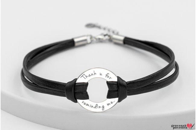 Bratara piele cerc 20 mm personalizat gravura text Argint 925 rodiat