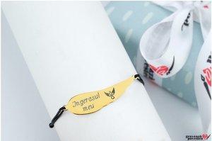 Bratara snur aripa ingeras 36 mm personalizata gravura text Argint 925 rodiat