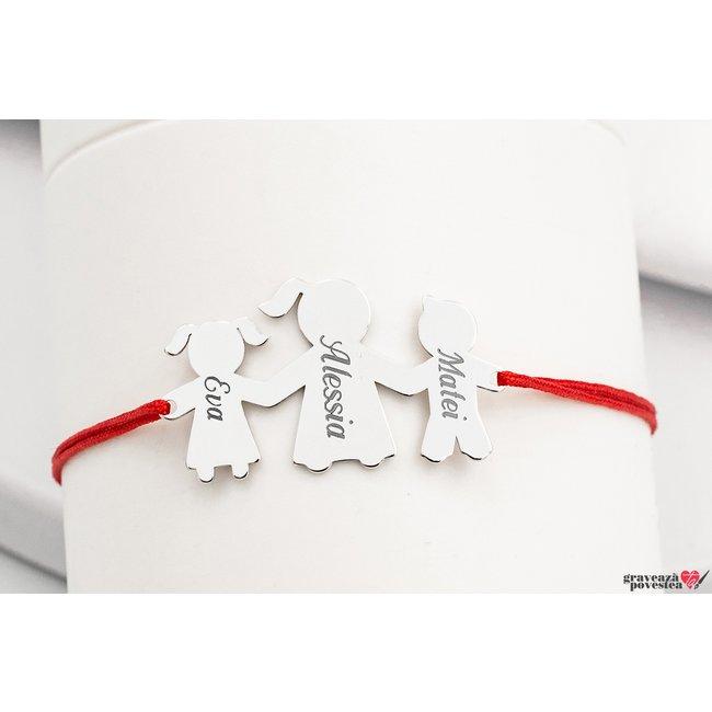 Bratara snur familie - trei membri 27 mm personalizati gravura text Argint 925 rodiat