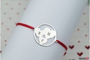 Bratara snur trei inimi in cerc personalizate gravura text Argint 925 rodiat