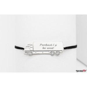 Bratara snur camion 35 mm personalizat gravura text Argint 925 rodiat