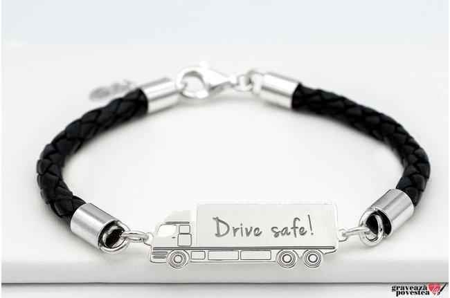 Bratara piele camion 35 mm personalizat gravura text Argint 925 rodiat (piele 5 mm)
