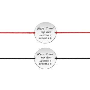 Bratari snur cuplu banut 19 mm personalizate gravura coordonate Argint 925 rodiat