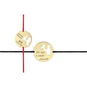 Bratari snur cuplu banuti parinte si copil decupati 22 mm & 19 mm personalizate gravura text Argint 925 rodiat