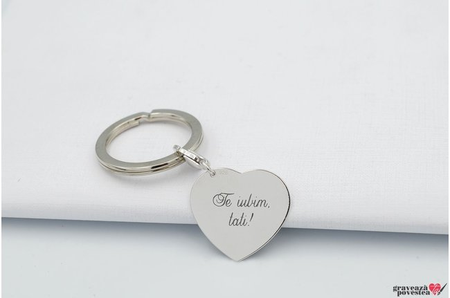 Breloc inima 24 mm personalizata gravura text Argint 925 rodiat