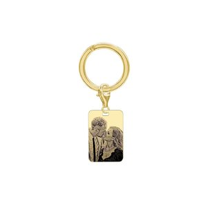 Breloc placuta 30 mm personalizat gravura foto Argint 925 placat cu aur