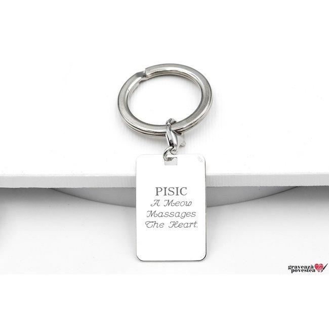 Breloc placuta 30 mm personalizat gravura text Argint 925 rodiat