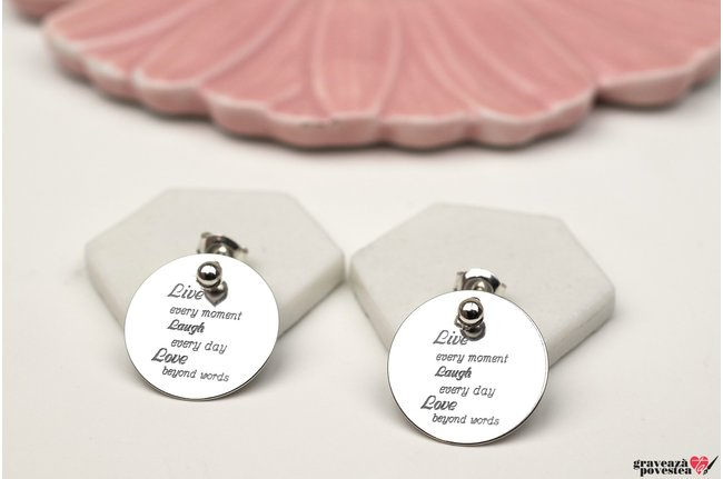 Cercei banuti 17 mm personalizati gravura text Argint 925 rodiat (doua fete)