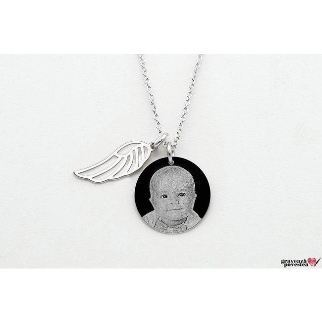 Colier aripa si banut 17 mm personalizat gravura foto Argint 925 rodiat