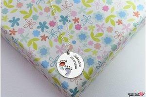 Colier banut talpite bebe 19 mm personalizat gravura text Argint 925 rodiat
