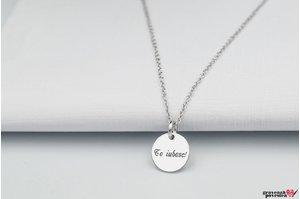 Colier banut 10 mm personalizat gravura text Argint 925 rodiat