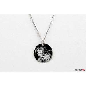 Colier banut 14.5 mm personalizat gravura foto Argint 925 rodiat