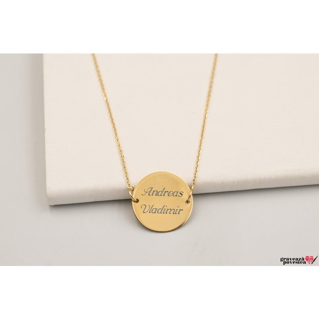 Colier banut fix 15 mm personalizat gravura text Aur 14K