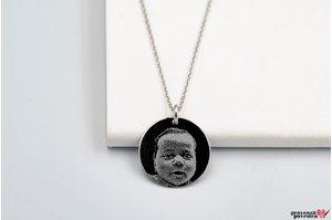 Colier banut 19 mm personalizat gravura foto Argint 925 rodiat