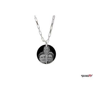 Colier banut 22 mm personalizat gravura foto Argint 925 rodiat (lant Paper Link)